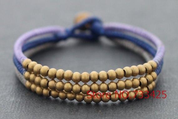 Layer Multi Strand Br Woven Bracelet Handmade Wax Cord Thai Style Bell Closure