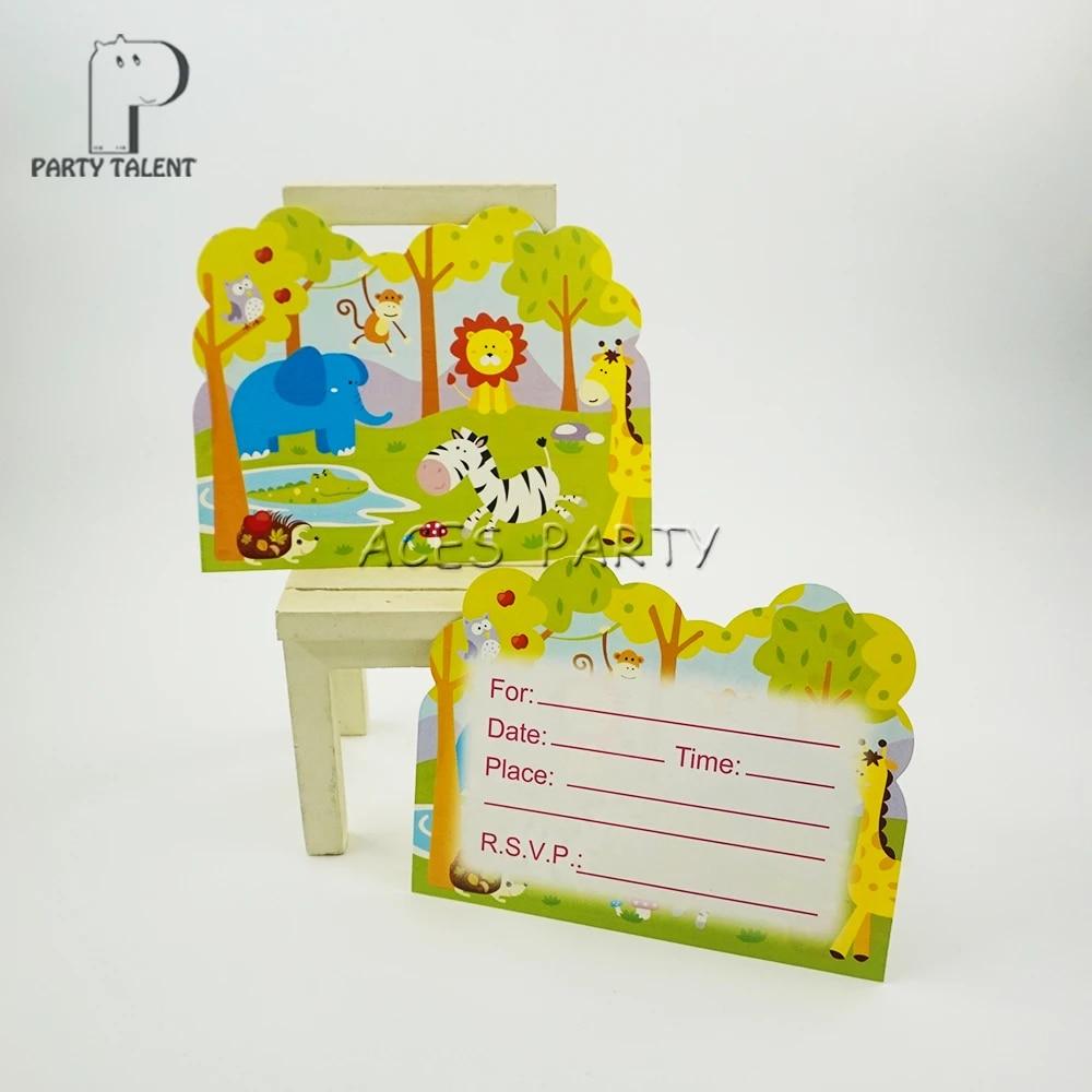 carte d invitation a theme animaux de safari de la jungle fournitures de fete decoratives pour anniversaire pour enfants fournitures de fete carton