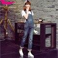 Европейский Британский стиль чистый хлопок ковбой комбинезоны женщин качества сексуальный царапины манжеты джинсовые брюки старинные джинсы D111