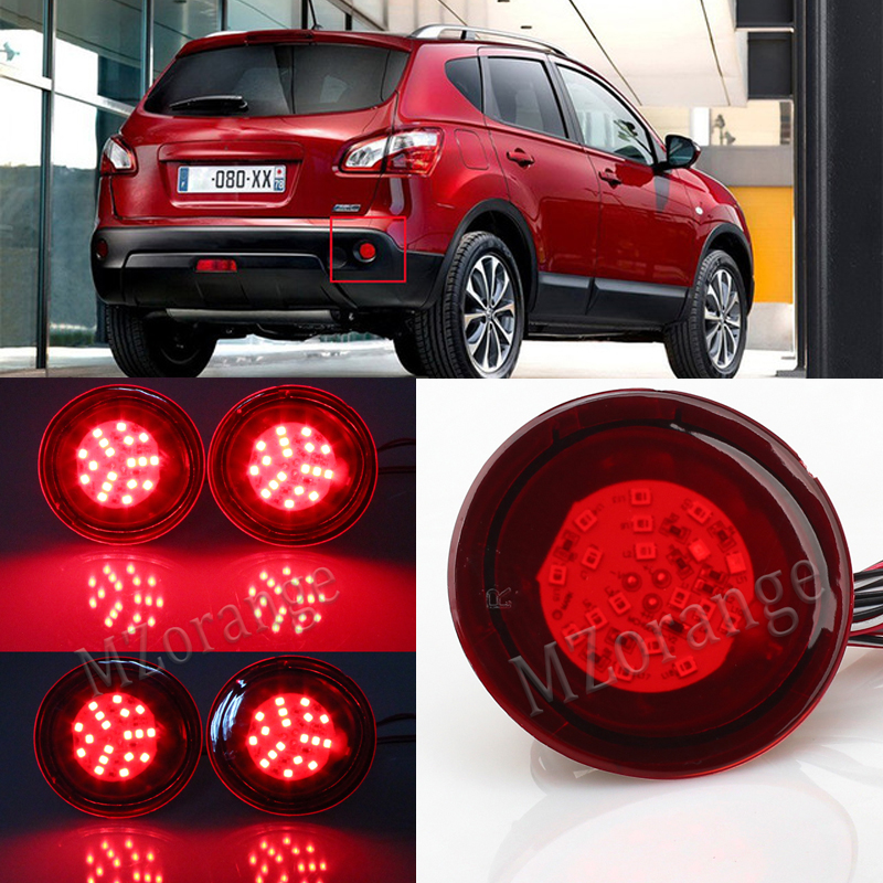 2 PCS LED Rear Bumper Reflector Light Round Red Parking Warning Stop Brake Lights Night Running Tail Fog Lamp For Nissan Qashqai