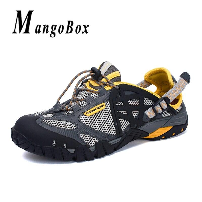 Été hommes chaussures de Wading respirant mâle maille Sport baskets en caoutchouc semelle plage homme Aqua chaussures antidérapant en plein air chaussures d'eau hommes