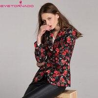 Women Autumn Blazer Rose Floral Print Single Breasted Blazer Casual Work Office Business Slim Basic Formal