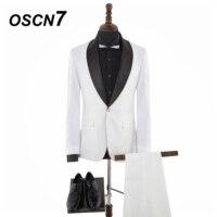 OSCN7 контрастного цвета Дизайн широкий платок лацканы Бизнес Повседневное 2 шт. костюм Для мужчин брендовая одежда Индивидуальные костюмы Дл