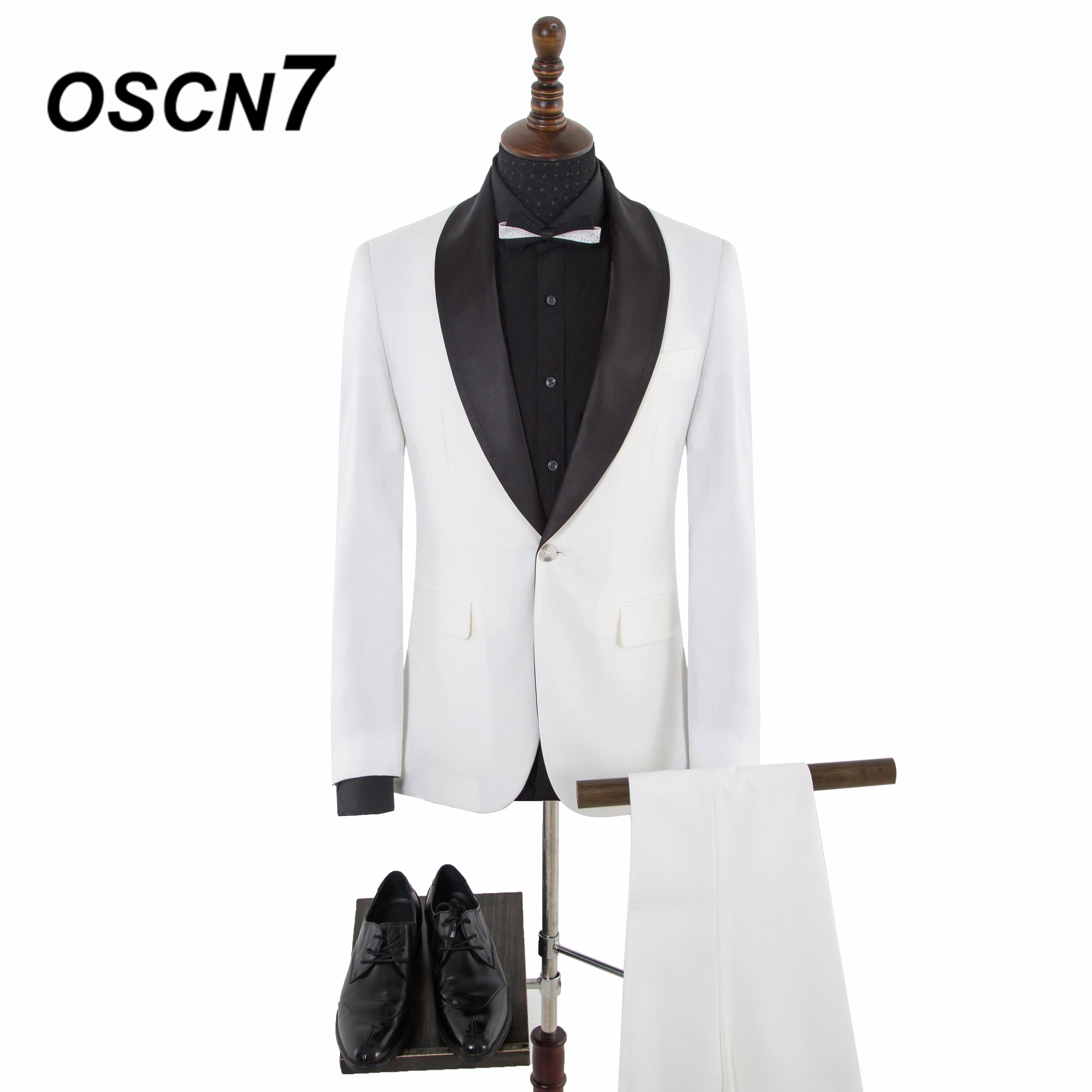 OSCN7 Contrast color Design Wide Shawl Lapels Business Casua