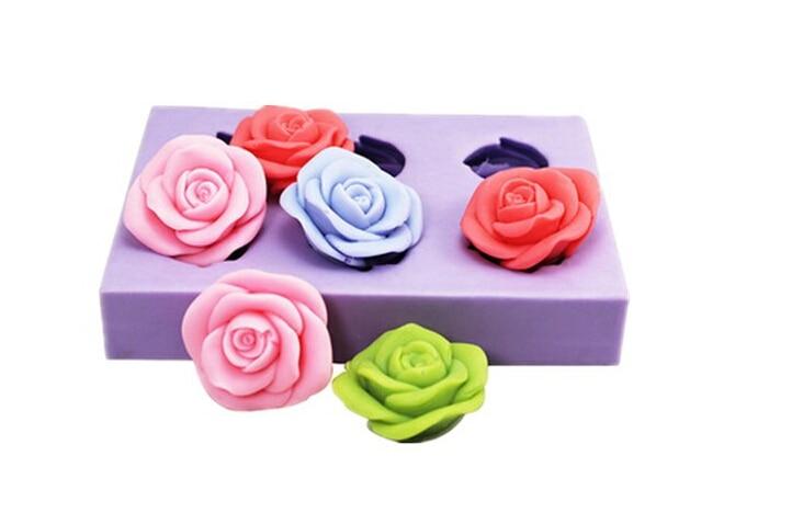 3D rose silicone  mold  flower chocolate  mold silicone fondant cake decoration mold wholesale handmade soap mold|fondant cake decorating molds|3d rose silicone mold|decor mold - title=