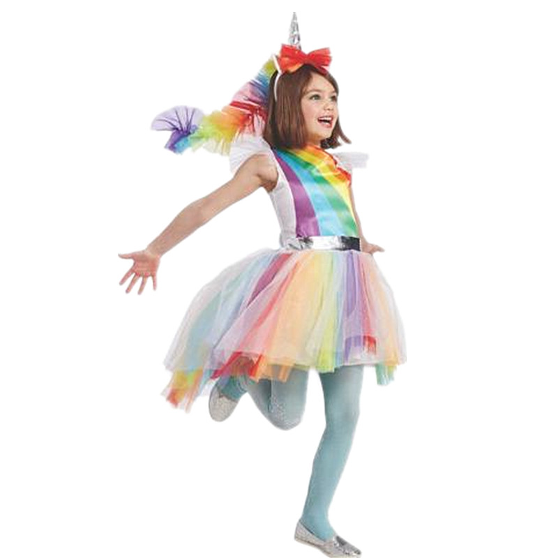 Girl Colorful Magic Tone Rainbow Unicorn Fantasy Folding Child Princess Halloween Carnival Cosplay Party Costume