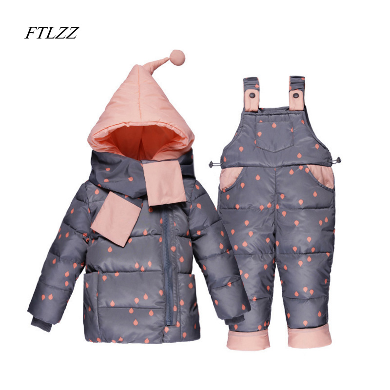 Baby Girls Boys Clothes Jumpsuit Sets Winter Children Jacket Down Hooded Coat  + Pants Kids Warm Thick Outdoor Suits 1-3 Year children winter coats jacket baby boys warm outerwear thickening outdoors kids snow proof coat parkas cotton padded clothes