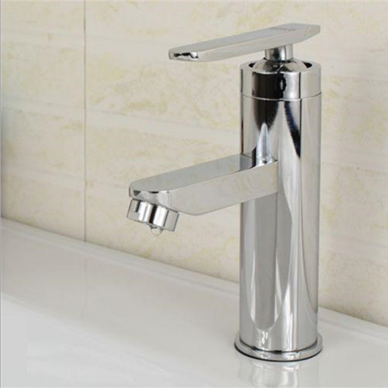 1Pc Classic Bathroom Basin Faucet Accessories Wiredrawing Puckering Sink Stainless Steel Hot and Cold Water Tap