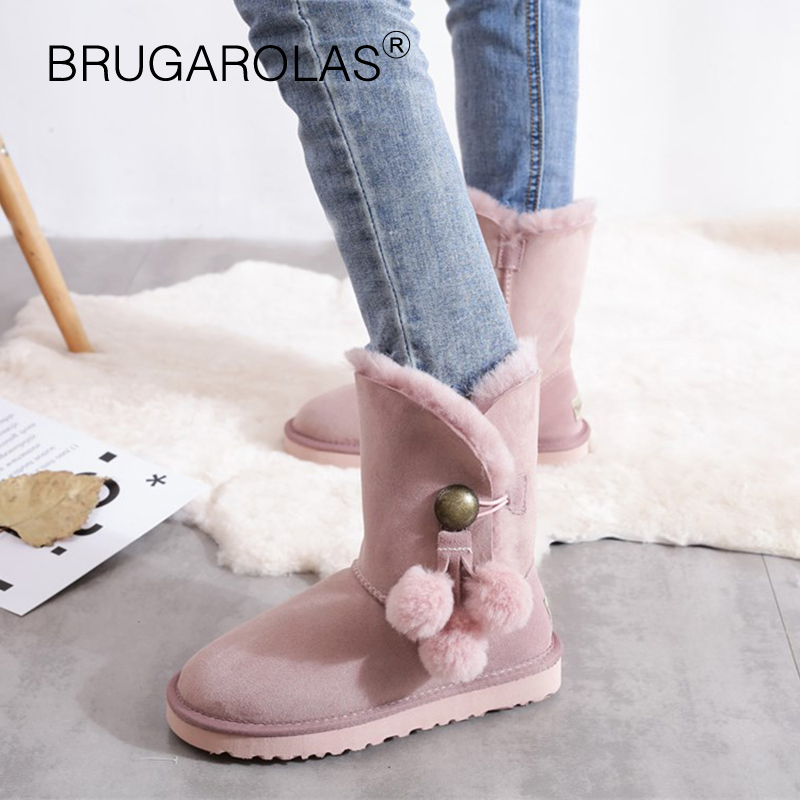 New Genuine sheepskin Leather Snow Boots Winter ladies Boots Australia Real Suede Fur Wool Lined Winter Warm Shoes High Quality suede faux fur lined snow boots