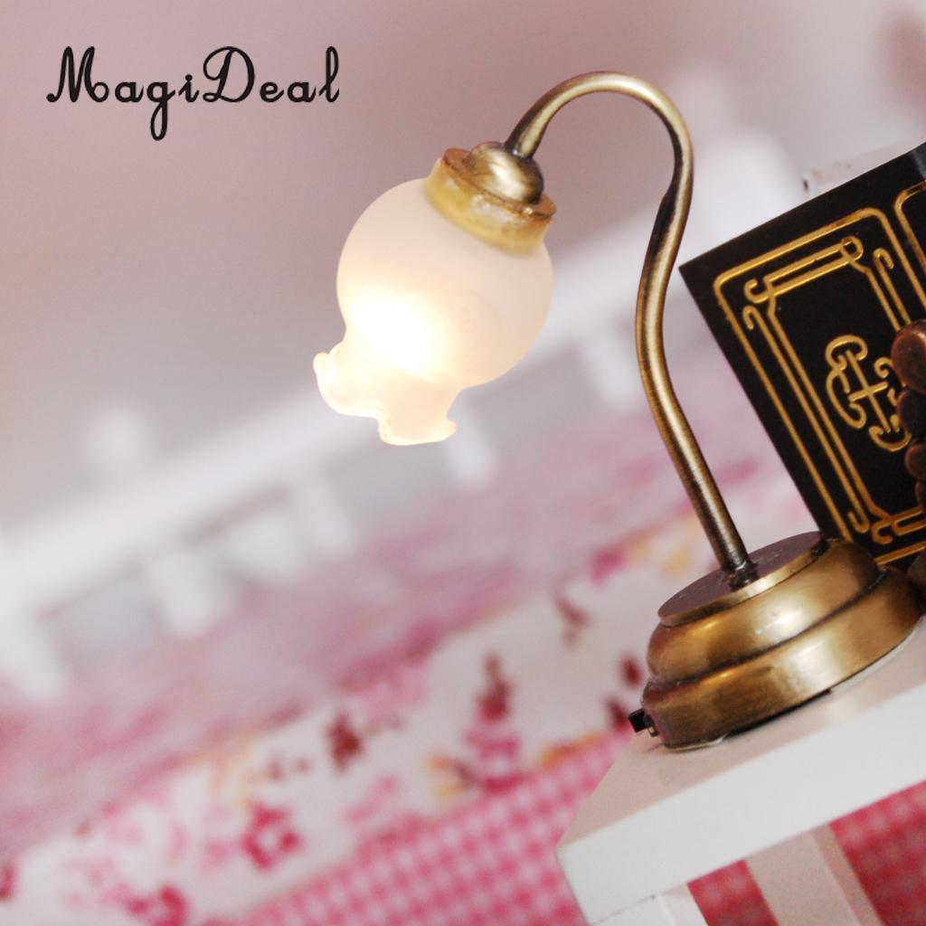 1:12 Modern Dollhouse Miniature Table Lamp Light Bed Room Decor Kids Toy Sanwood