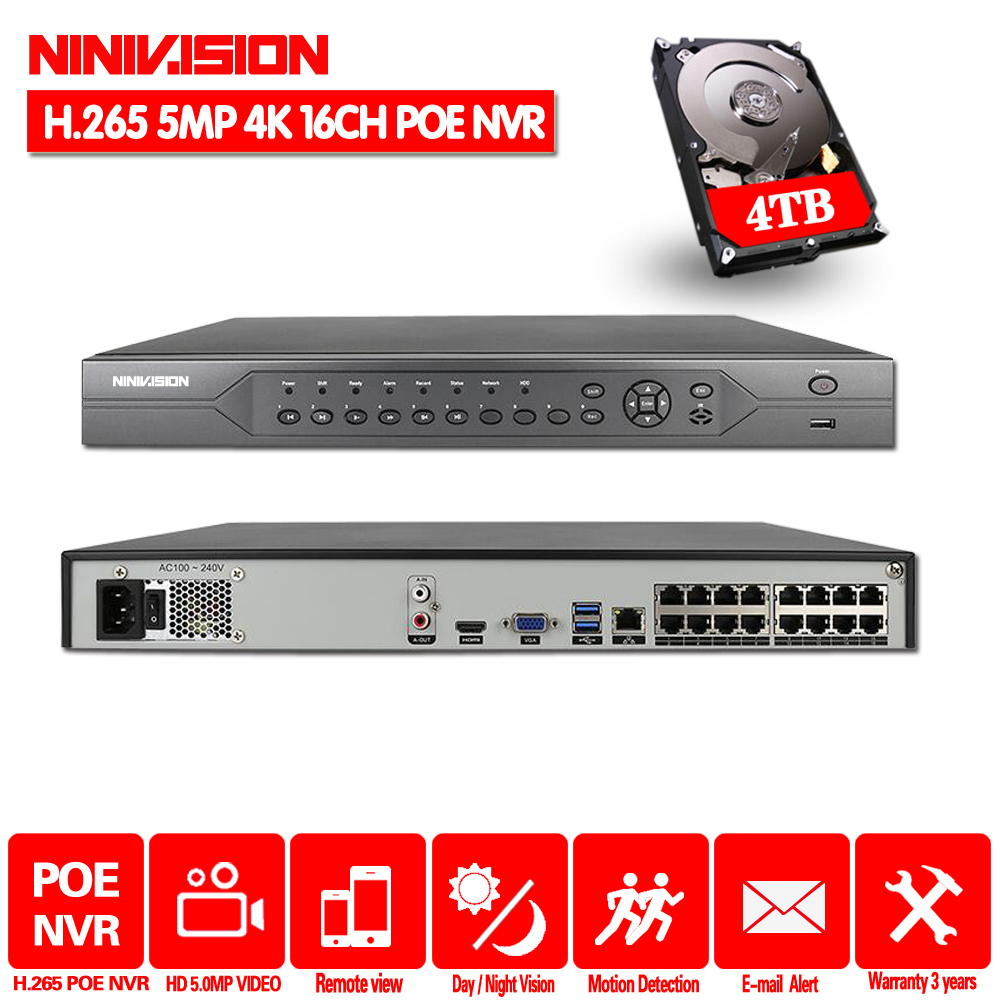 H.265 16CH 8CH 4K 5MP 4MP 3MP 48V Real POE NVR XMEYE P2P ONVIF Network Video Recorder for POE IP Camera CCTV System with <font><b>4TB</b></font> <font><b>HDD</b></font> image