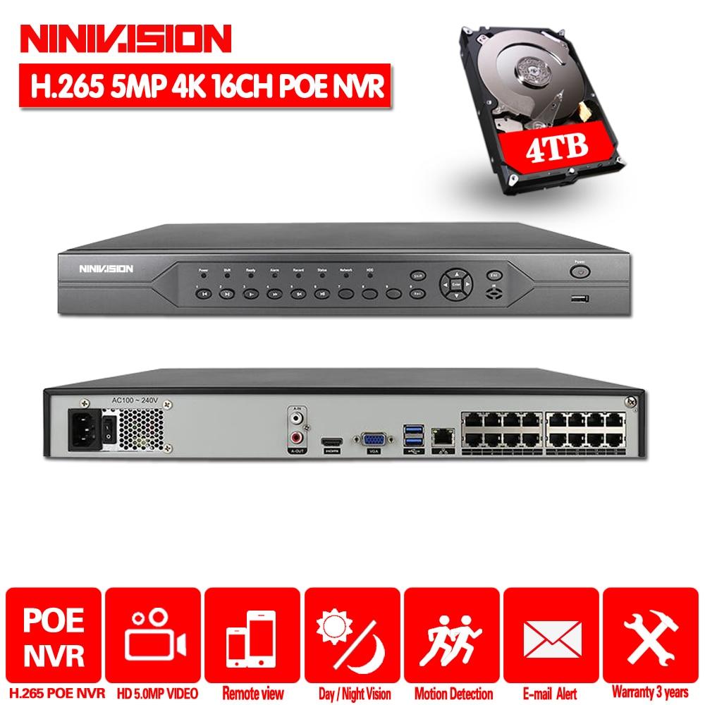 H.265 16CH 8CH 4K 5MP 4MP 3MP 48V Real POE NVR vmeyesuper de P2P ONVIF red grabadora de vídeo para cámara IP POE SISTEMA DE CCTV con 4TB HDD
