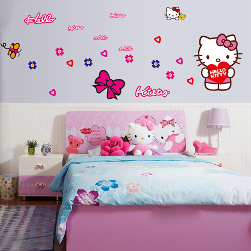 Wonderful 1 Set DIY Lovely Hello Kitty Wall Stickers For Kids Room Girls Bedroom Wall  Decals Removable Poster Car Decoration Stickers In Wall Stickers From Home  ... Part 29