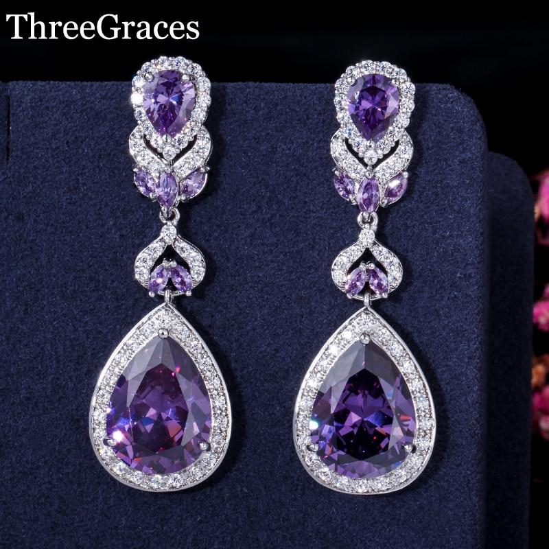 ThreeGraces luxusní design bílé zlato barva fialová krychlový - Bižuterie