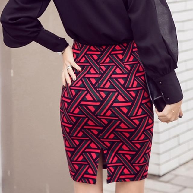 Womens Long Pencil Skirt Knee Length Fashion Summer OL Sexy Elegant Plaid Plus Size Formal Work Office Printed Skirts Female 6