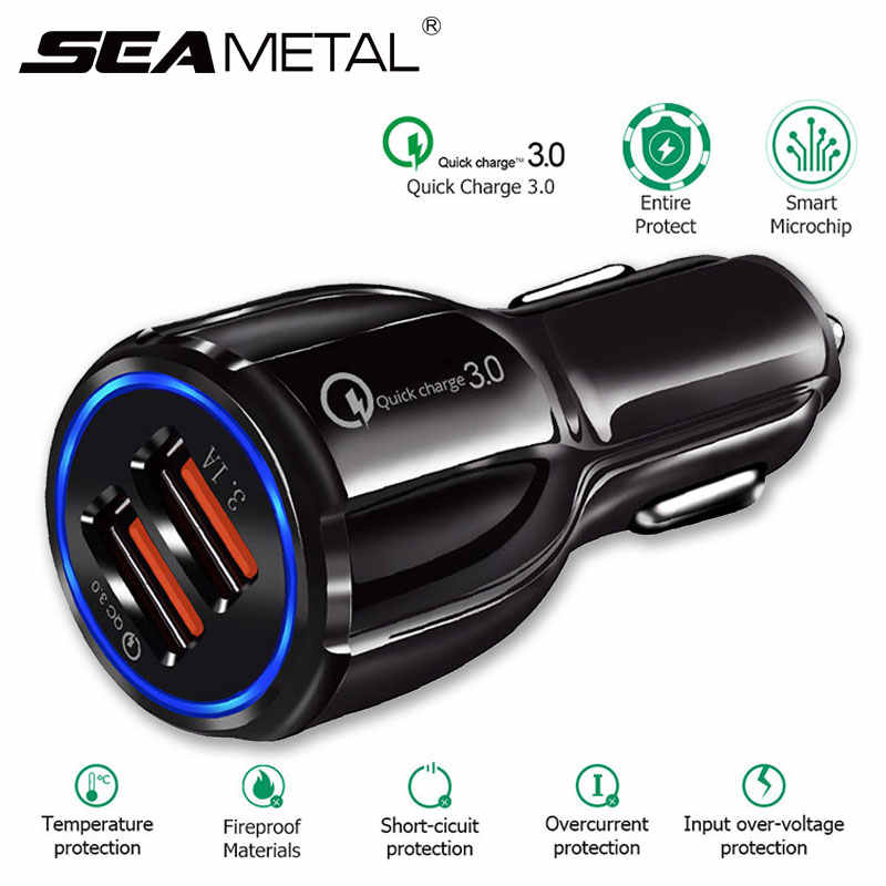 Quick Charge 3.0 Car Charger Cigarette Lighter Socket Adapter QC 3.0 Dual USB Port Fast Charge Car Accessories For Phone DVR MP3