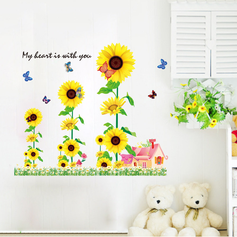 DIY Beautiful Sunflower Home Decor Wall Stickers Decoration Vinyls Wall For  Kitchen Glass Bathroom Wallpaper Decal