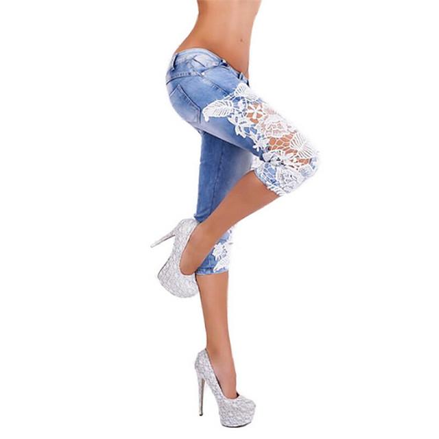 2017 Fashion Lace Patchwork Calf-Length Jeans