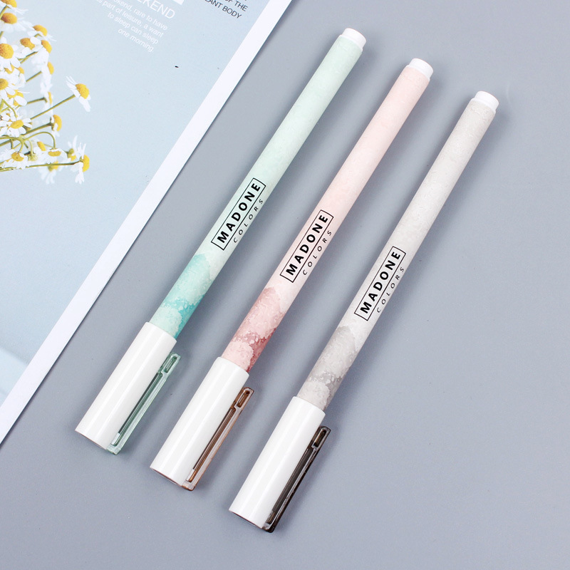 2pcs Cute Gel Pens Black Bright Ink Pen Fresh Kawaii Ballpoint School Canetas Boligrafos Gift Stationery Office Supply 0.5mm
