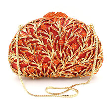 Fashionable Red Water Grass Hollow Out Clutch Female Evening Bag Shell Shape Clutches Diamond Banquet Handbags Women Clutch(China)