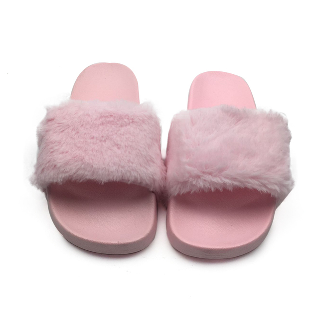 Spring Autumn Fluffy Women Slippers Open Toe Thicken Antiskid Solid Color Flip Flops Plush Fashion Indoor Outdoor Shoes