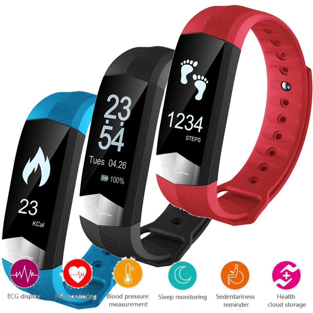 For IOS iPhone 8 / 8 Plus X Bluetooth Smart Wristband ECG Display Heart Rate Blood Pressure Monitor Fitness Smart Band Bracelet dawo ecg smart bracelet blood pressure smart wristband heart rate temperature pedometer bluetooth fitness band for ios android
