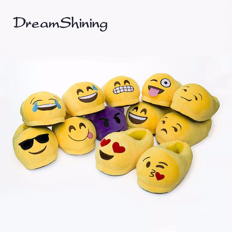 DreamShining Emoji Slippers Cartoon Plush Slipper Home With The Full Expression Women/ Men Slippers Winter House Shoes One Pair plush winter slippers indoor animal emoji furry house home with fur flip flops women fluffy rihanna slides fenty shoes