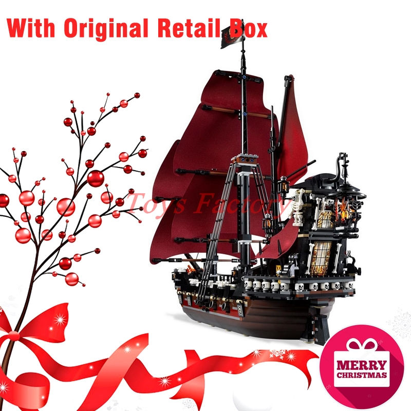 Christmas Gifts With Original Retail Box LEPIN 16009 Pirates Of The Caribbean Queen Anne's Reveage Ship Building Blocks 4195 lepin compatible 16009 1151pcs pirates of the caribbean queen anne s reveage model building kit blocks brick toys for kids 4195