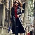 S-4XL! Chegam Novas Fabricante de Ultra Longo Casaco de pele de Carneiro Couro Genuíno Para Baixo Casaco Feminino Roupas de Couro Fino Moda Outerwear