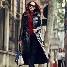 S-4XL Manufacturer Long Sheepskin Coat Snowimage Female Genuine Leather Down Coat Slim Leather Clothing Fashion Outerwear