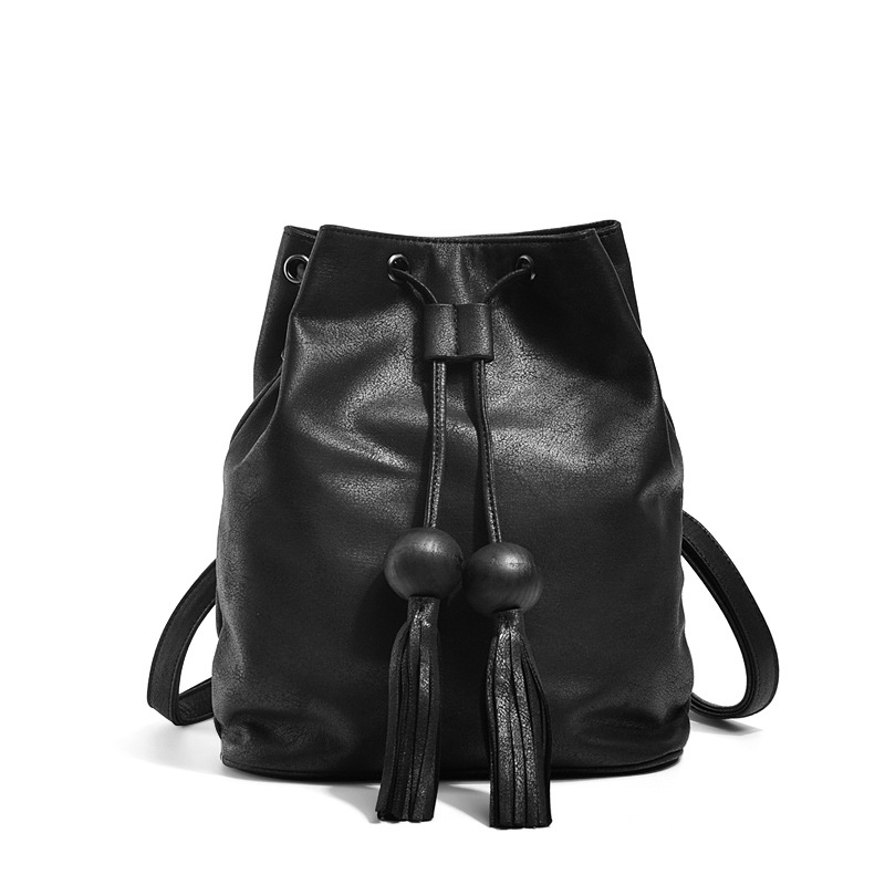 MORESHINE New arrival PU leather women's bucket bag Ladies fashion string tassel design shoulder back bag Female Crossbody bags