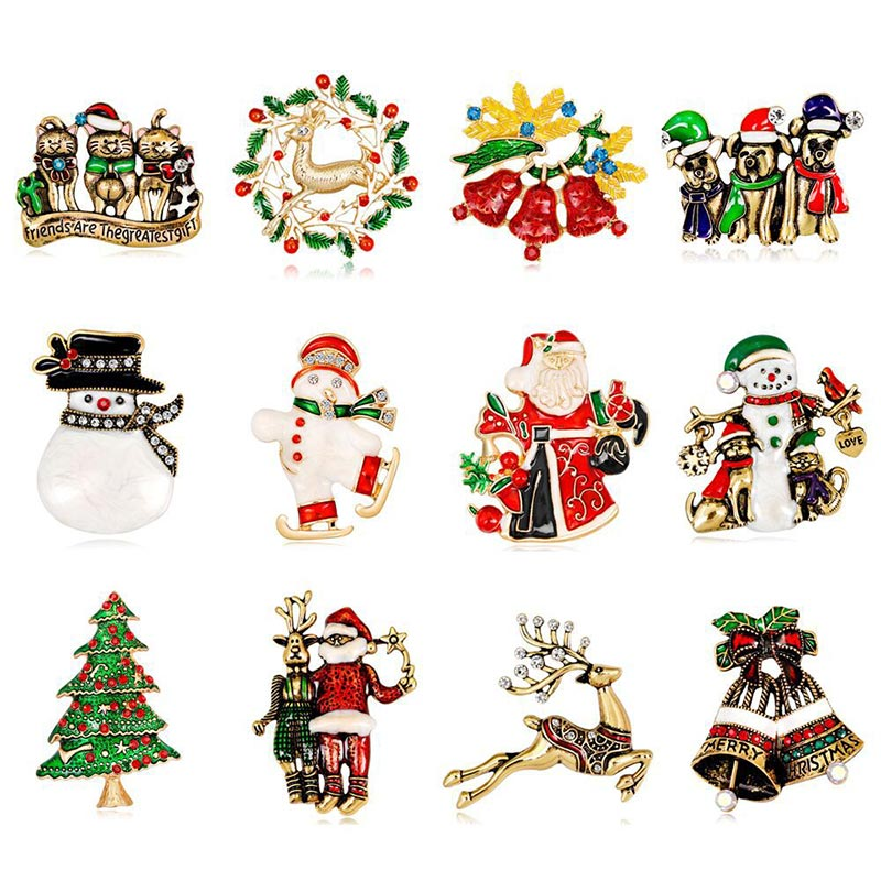 Christmas Brooches And Pins.Us 13 49 10 Off 6pcs Christmas Brooches Pin Bagde Bodice Brooch Safety Pins For Diy Craft Christmas Tree Pin Santa Claus Brooches Clothing Decor In