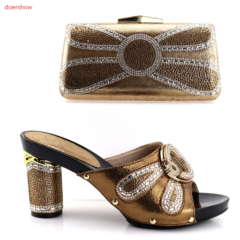 doershow 2018New Design Italian Style Shoes And Bag Set African Women Shoes And Matching Bag Set For Wedding Dress!HV1-9 doershow latest style african shoes and bag set new italian high heels shoes and matching bag set for party dress kh1 20