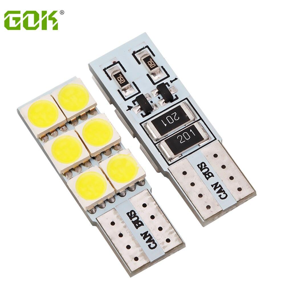 Wholesale 100pcs Lot Auto led T10 6smd 5050 LED w5w LED T10 canbus car Light led