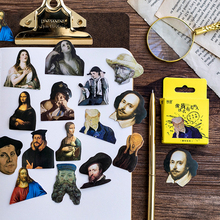 45Pcs/box Vintage Famous People Sticker Scrapbooking Creative DIY Journal Decorative Adhesive Labels Stationery Supplies