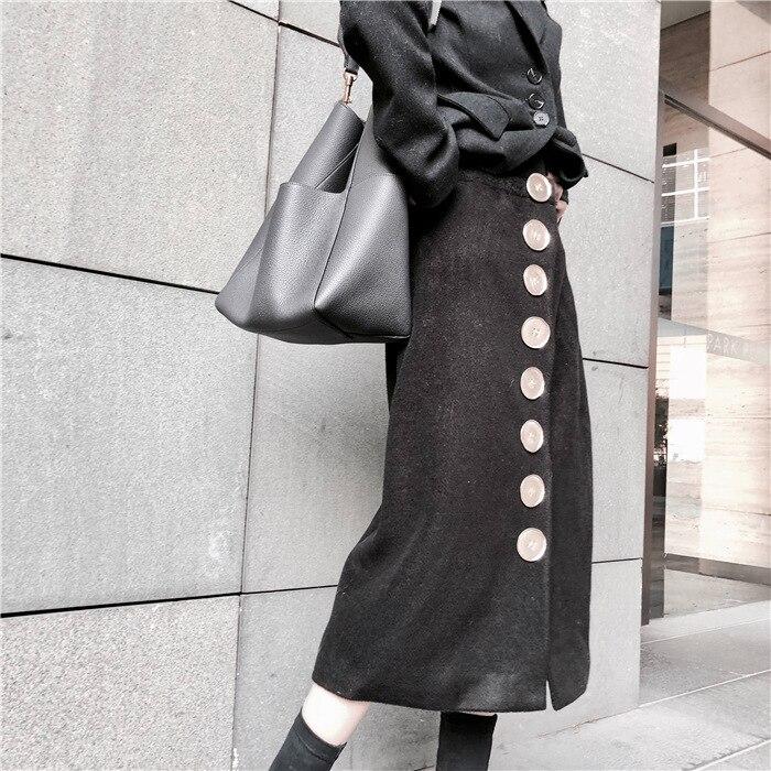 2019 ruée laine solide a-ligne mi-mollet Empire jupe nouveau femmes jupe Simple taille haute grand bouton fendu fourche hiver