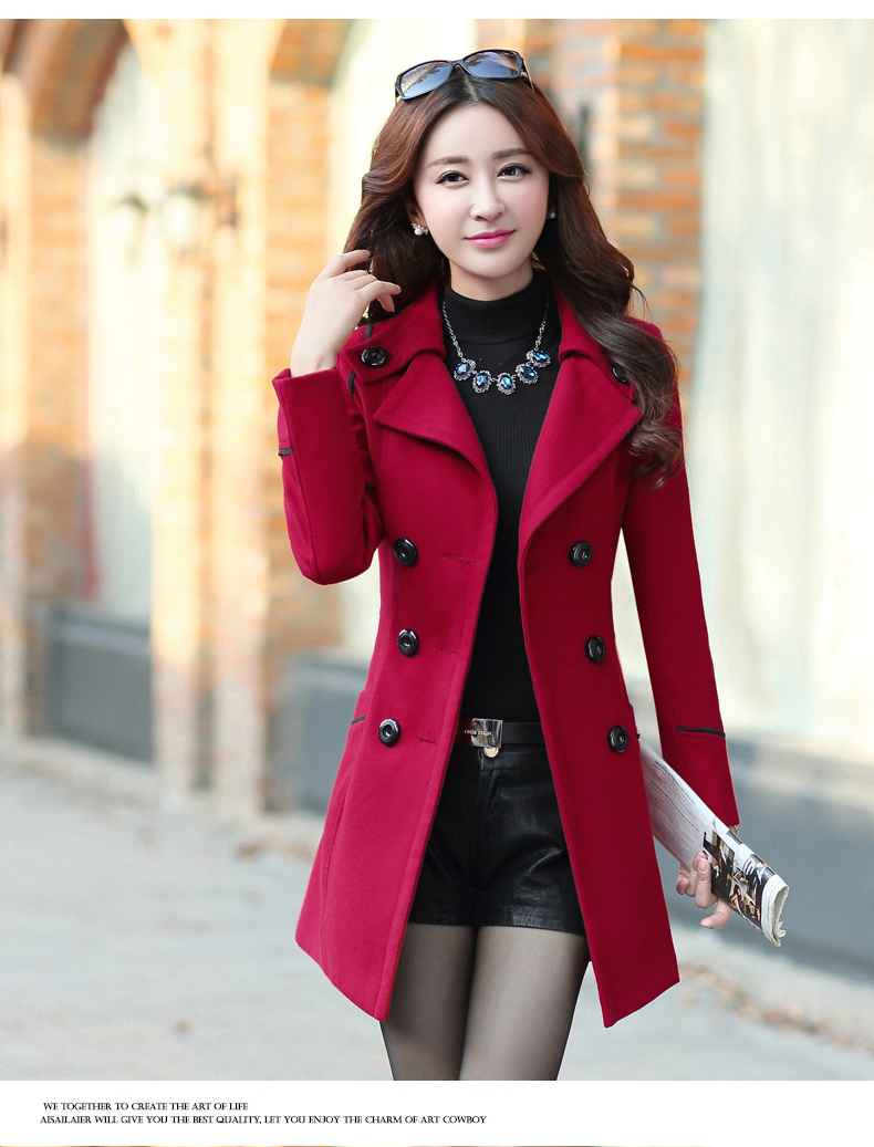2756ee24c7ecb Plus Size 2016 New Fall And Winter Clothes Woman Long Design Wool Coat  Female Fashion Slim Thin Long Blends Trench Overcoat XXXL