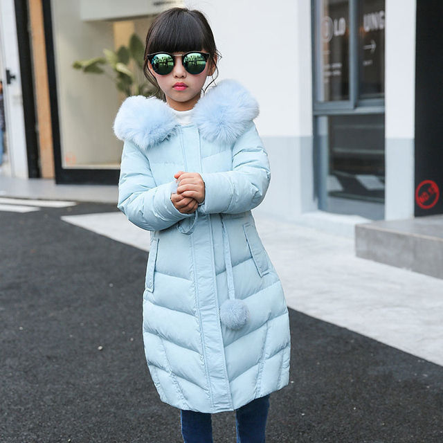 Winter girl Down jackets Girl long female big girl baby baby clothes 2016 new thick coat outer wear hooded fur collar parka D14