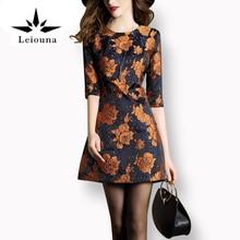 Leiouna Желтая роза Haft рукава прямые цветочный Вышивка печати Bodycon мини до колена Новые поступления Платья для женщин для летнее платье Для женщин