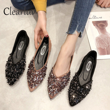 Купить с кэшбэком Pointed new single shoes female 2019 spring rhinestone flat bottom gentle fairy shoes peas shoes women  zapatos de mujer C0790