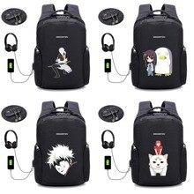 anime Gintama backpack men travel backpack Laptop computer backpack USB charging student shoulder bag 22 style недорго, оригинальная цена