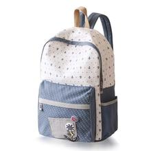 Печати холст рюкзак Южная Корея версия Для женщин Школьные сумки для подростков Обувь для девочек милые плюшевые ноутбука Рюкзаки женский рюкзак