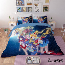 Mxdfafa Anime Sailor Moon Bed Sack Set  cartoon bedding set Luxury Duvet Cover 3pcs Include 1 and 2 Pillowcases