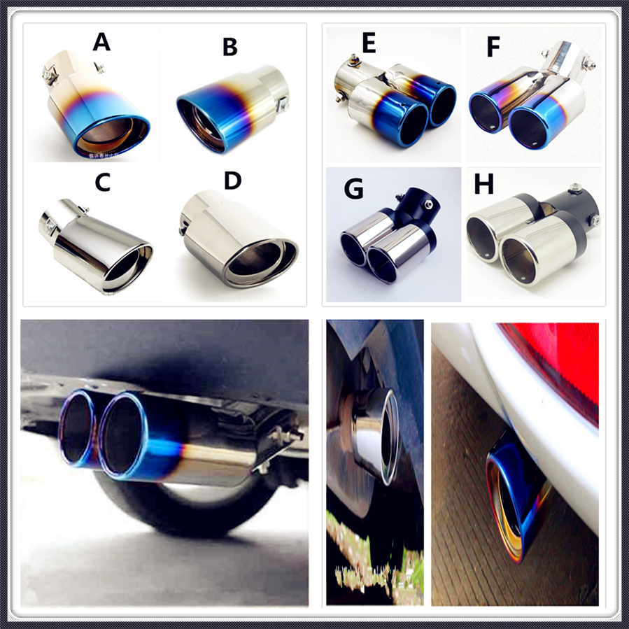 Car Steel <font><b>Exhaust</b></font> Muffler pipe cover Tail For Volkswagen <font><b>VW</b></font> POLO <font><b>Golf</b></font> <font><b>4</b></font> <font><b>Golf</b></font> 6 <font><b>Golf</b></font> 7 CC Tiguan Passat B5 Touareg2 GolfA5 GT image