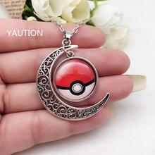 1PCS Tibetan Silver Anime Pokemon Pokeball Glass Hollow Moon Shape Pendant Necklace