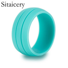Sitaicery Sale 8.5mm Punk Silicone Mens Rings 4-10 Size Sport For Women Men Finger Jewelry 7 Colors Wholesale Lots Bulk