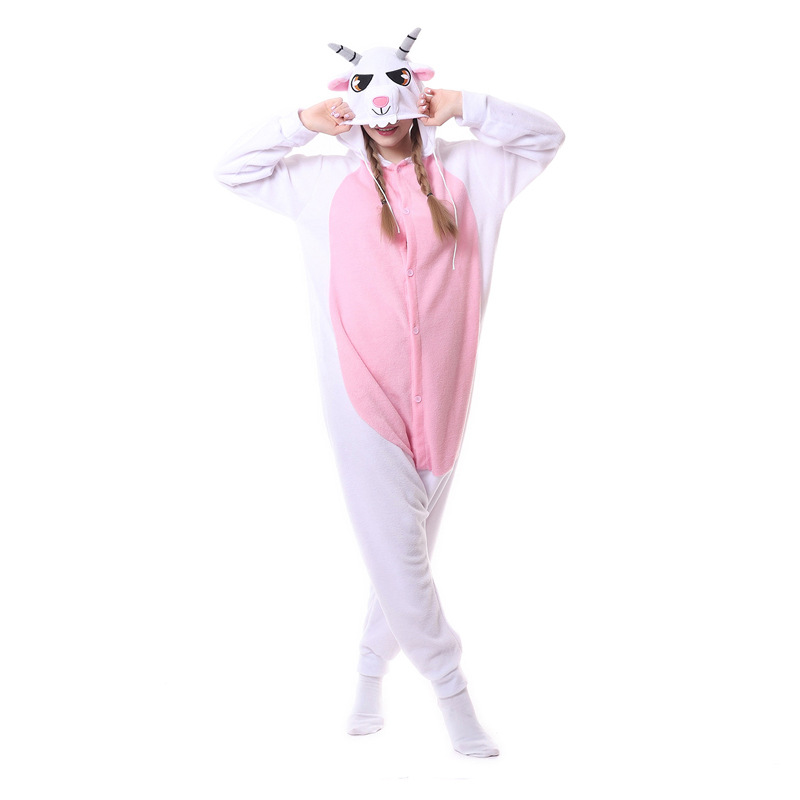 goat Kigurumi Onesies Costumes 2019 Men and women Hooded animal cartoon pajamas blue shark home lovers long sleeve Jumpsuits