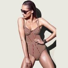 2018 Women Underwire Zaful Swimwear Sexy Striped one piece tankini swimsuit thong Bathing suit female Monokini цена 2017