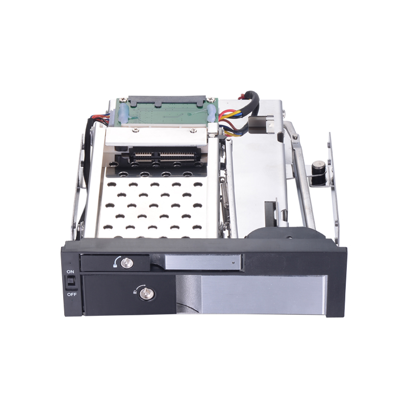 Sliver all aluminum alloy Dual Bay <font><b>5.25</b></font>-Inch Trayless Hot Swap HDD Mobile Rack Backplane for <font><b>2.5</b></font> and 3.5 Inch SATA Enclosure image