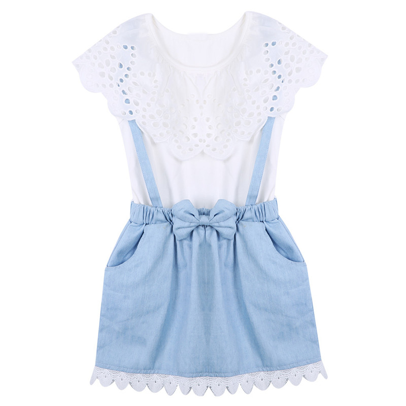 Cute Summer Girl Clothes Jeans Dress Sleeveless Blouse Denim Sundress False Two-Piece Set